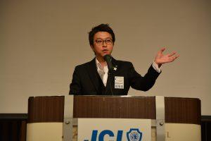 川北慶祐理事長による挨拶 青年会議所メンバーとしてのやる気と誇りをもって、大分青年会議所が、日本で一番と言われるようにして欲しいなどのお話をいただきました。