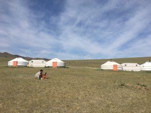 モンゴルの大草原で一人議案の修正に励む平倉委員長(この後、無事に審議を通過しました。)