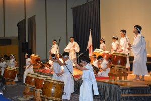 森憲司理事長による挨拶の後は、別府浜脇子ども太鼓と別府青年介会議所の勇志とのコラボレーションによる太鼓の演武のパフォーマンスが披露されました。