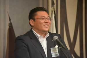 中島土直前理事長による挨拶 他ロムの例会への尾ブザーブ参加を推奨していただきました。